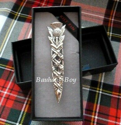 Kilt Pin Celtic Basket Weave And Thistle Solid Pewter Made In Scotland For Kilts