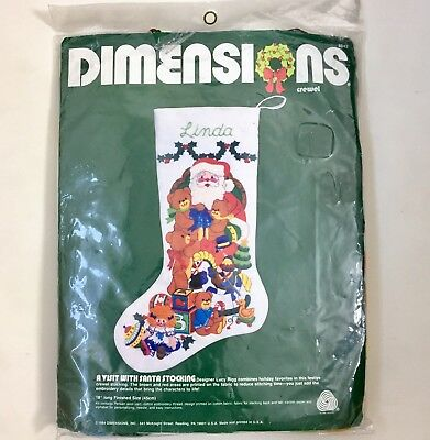 A Visit With Santa Christmas Stocking 1984 Dimensions Crewel Embroidery Kit