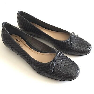 97e1abd33 Trotters Womens Black Woven Leather Weave Ballet Flats Shoes Ribbon Bow  Size 8N
