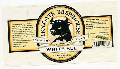 330ml Holgate Brewhouse White Ale Beer Label (Australian Microbrewery)