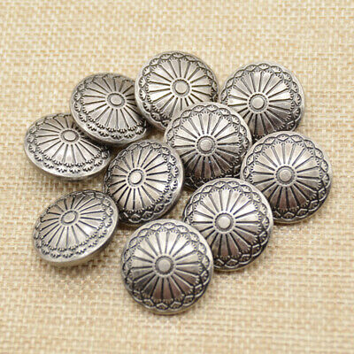 10pcs Spiricle Silver Flower Shank Button Metal Round 23mm Sewing Embellishment