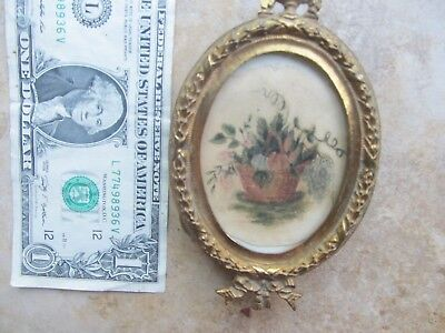 Classic 1814  Antique HAND PAINTED MINIATURE WATERCOLOR, Sweetheart Love, Flower