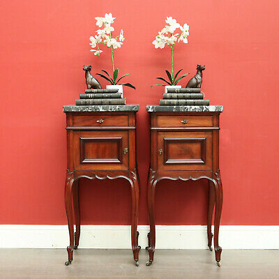 Pair Black White Marble Top Single Drawer and Cupboard Bedside Lamp Hall Tables