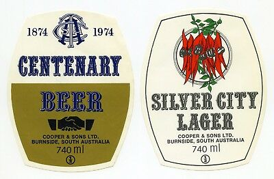 Old Pair of 740ml Commemorative Beer Labels (South Australia)