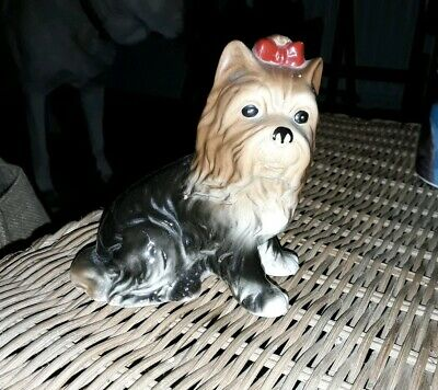 Yorkshire Terrier  Dog Figure Ceramic Figurine Yorkie With Bow Approx 5""