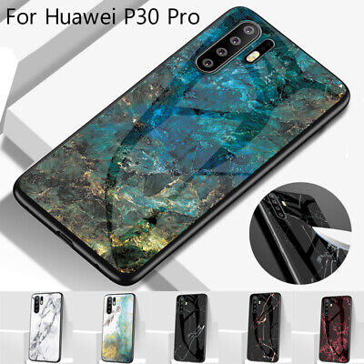 For Huawei P30 Pro Mate 20 Y7 Y9 2019 Marble Tempered Glass Back Hard Case Cover
