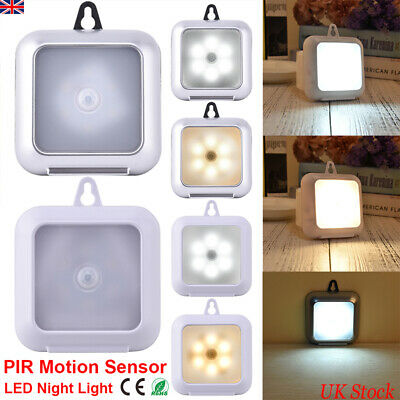 Battery Operated LED PIR Motion Sensor Night Light Cabinet Cupboard Stair Lamp