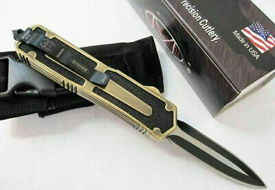 Coltello Microtech Scarab Navy Gold Double Edge Limited Benchmade Balisong Edc