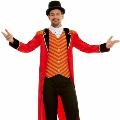 Mens Deluxe Ringmaster Costume Circus Showman Fancy Dress Outfit