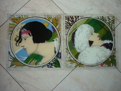Art nouveau - Lot 2 Carreaux peints