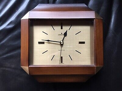 Vintage 1970s Junghans Teak and Brass Wall Clock - Original Movement.