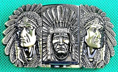"""Belt Buckle with Lighter """"Indian Chief"""" to fit 3.8cm Wide Belt, Custom Made DIY"""
