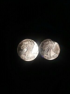 Lot Of 2 Walking Liberty 1/10th Troy Ounce .999 Fine Silver Coins Dcam