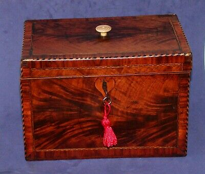 Antique Georgian Inlaid Flame Mahogany Tea Caddy With Working Key