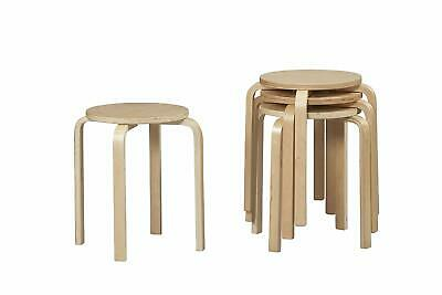 Stackable Bar Stool 17.72 Inch Round Kitchen Dining Furniture Beige Set of 4