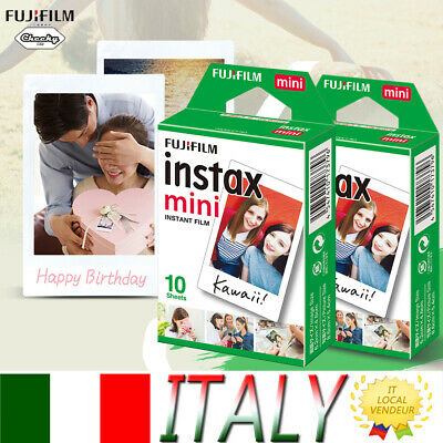 20 Scatti Fuji Instax Mini Pellicola Film Per Fujifilm Mini 7s/8/25/70/90/9 IT