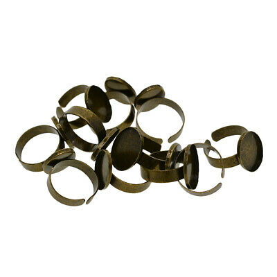 10pcs Antique Bronze Cabochon Ring Blank Base for Glass, Cabs, Resins ,Beads