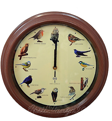 Bird Song Wall Clock Bird Sounds On The Hour 32cm Bird Lovers Mothers Day Gift