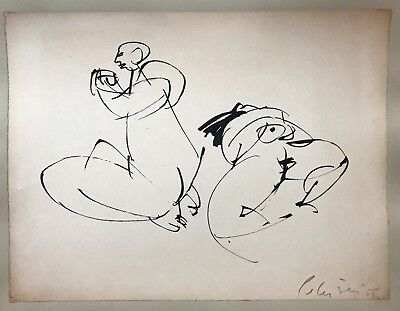 Will Petersen (1928-1994) listed, original India ink drawing man and woman 1955
