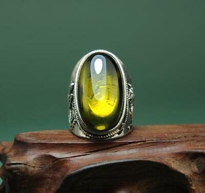 china old antique hand-made tibetan silver inlay green zircon ring a01
