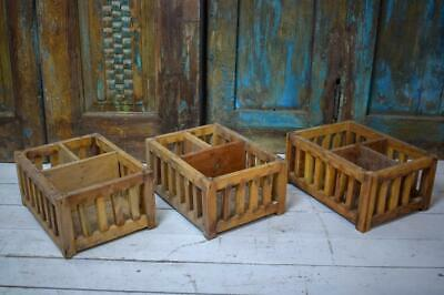 Vintage Style Rustic Handmade Wooden Crates Kitchen Shop Display Storage