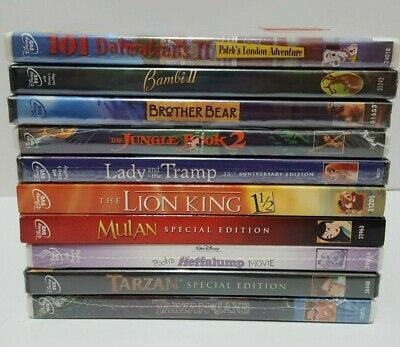 AUTHENTIC Disney DVD Lot Pooh Heffalump Movie Tarzan Mulan Lady Tramp Bambi NEW