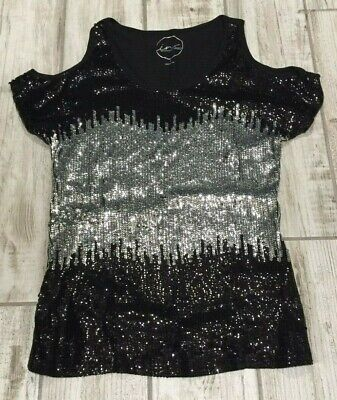 aa710895a53b8 Inc International Concepts Women s Sequinned Cold Shoulder Top Black ...