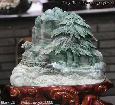 Chinese Dushan Stone Jade Lofty Mountains Rivers Pine Tree Cottage Art Sculpture