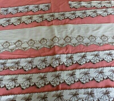 Lot 5+ meters Vintage French sewing trim-100% cotton-brown cherry / Clock border