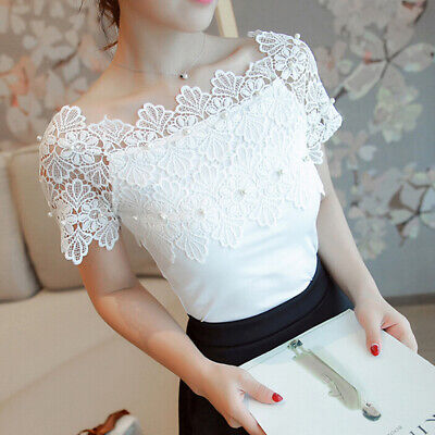 Fashion Hollow Out Women Short Sleeve Blouse Lace Patchwork Top Elegant Shirtsgv