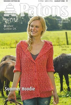 Patons 4015 Knitting Pattern Double Knit DK Ladies Nautical Crew V Neck Sweater