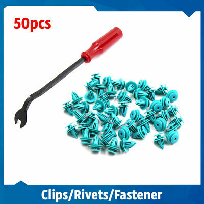 50Pcs Plastic Rivets Car Panel Retainer Clips with 1 Fastener Remover for Toyota