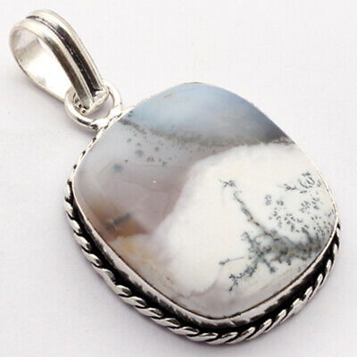 """ZB1236 Dendritic Agate & 925 Sterling Silver Plated Pendant 2"""" Jewelry"""