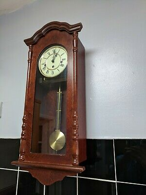 Westminster Chime 4/4 William Widdop mechanical wood cased wall clock with key