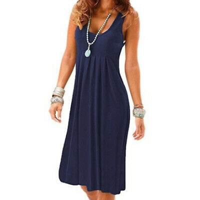 Women Cami Long Tunic Sleeveless Midi Dress Tank Top Scoop Neck Solid Color 8C