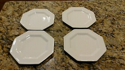 "Set Of 5 Johnson Brothers 7 3/4"" Salad Plates HERITAGE White England Octagon"