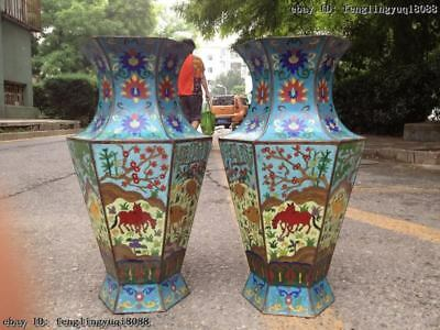 China Royal Palace Copper cloisonne Six arris longevity deer Horse OX Vase pair