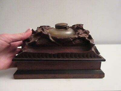 """Antique  Hand Carved Black Forest Oak Inkwell with Glass Bottle """"as found"""""""