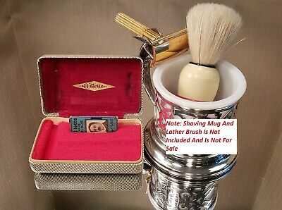 "(791) Vintage Gillette ""Gold Tech"" Tweed Case Safety Razor Set - 1940s Nice Set!"