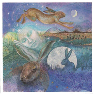 PAGAN WICCAN GREETING CARDS Hare Dreaming GODDESS Nature ANIMALS WENDY ANDREW