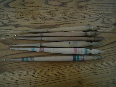 Antique Primitive Old Wool Spindle For Hand Spinning Yard Hand Carved - 6 Pcs