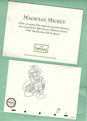 Disney Fine Art Print Magician Mickey Promotional WDCC 7 x 5 inches 1997 Magic