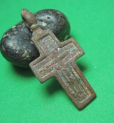 Ancient Bronze Cross Wearable Pendant Antique Rare C100