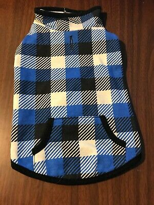 Dog Jacket Size Small Pet Puppy Blue Squares