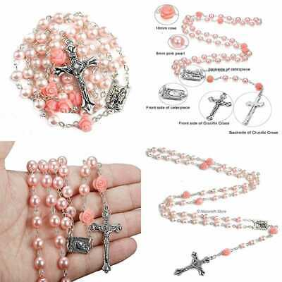 Catholic PINK Pearl Beads Rosary Necklace Our ROSE Flowers Lourdes Medal & Cross