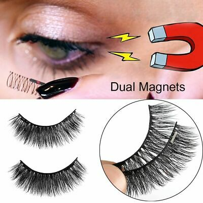 Long Handmade Soft 3D Mink Hair False Eyelashes Dual Magnets Extension Tools