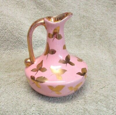 Vintage Pink Pitcher Vase with Hand Painted Gold Trim
