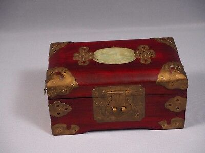 Chinese Wood Ornate Jewelry Trinket Box Lacquer Brass Carved Jade
