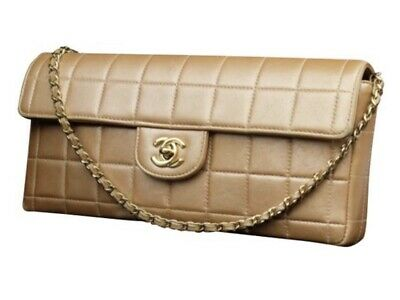 87ce53bc898c40 CHANEL EAST WEST quilted Chocolate Bar Flap Iridescent Beige : Tan ...