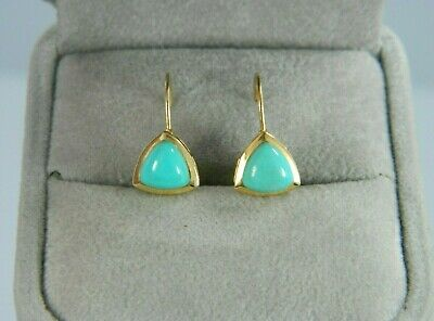 14k Yellow Gold BLUE TURQUOISE Lever-back Earrings